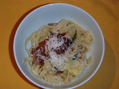 Artichoke Hearts, Prosciutto, Sun Dried Tomatoes, and Fettuccine