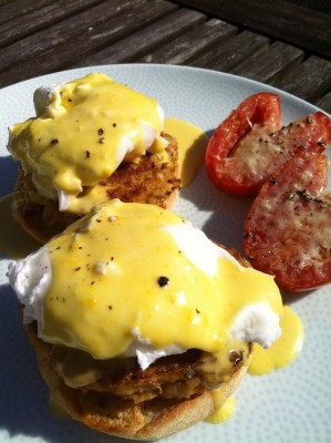 Crab Cake Eggs Benedict with Roasted Tomatoes