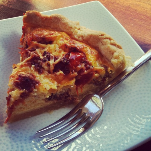 Slow Roasted Tomato Quiche with Leeks and Gruyere